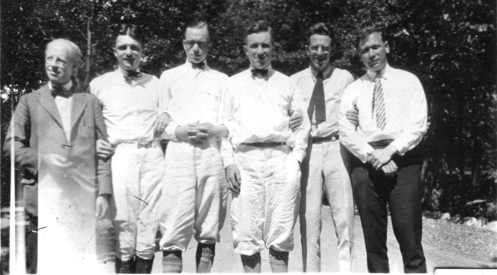 William Walter (father), Joe Marvel, Ralph Nicholson, Paul, Philip Furnas, Pat Vail. An additional usher, unidentified, is not present
