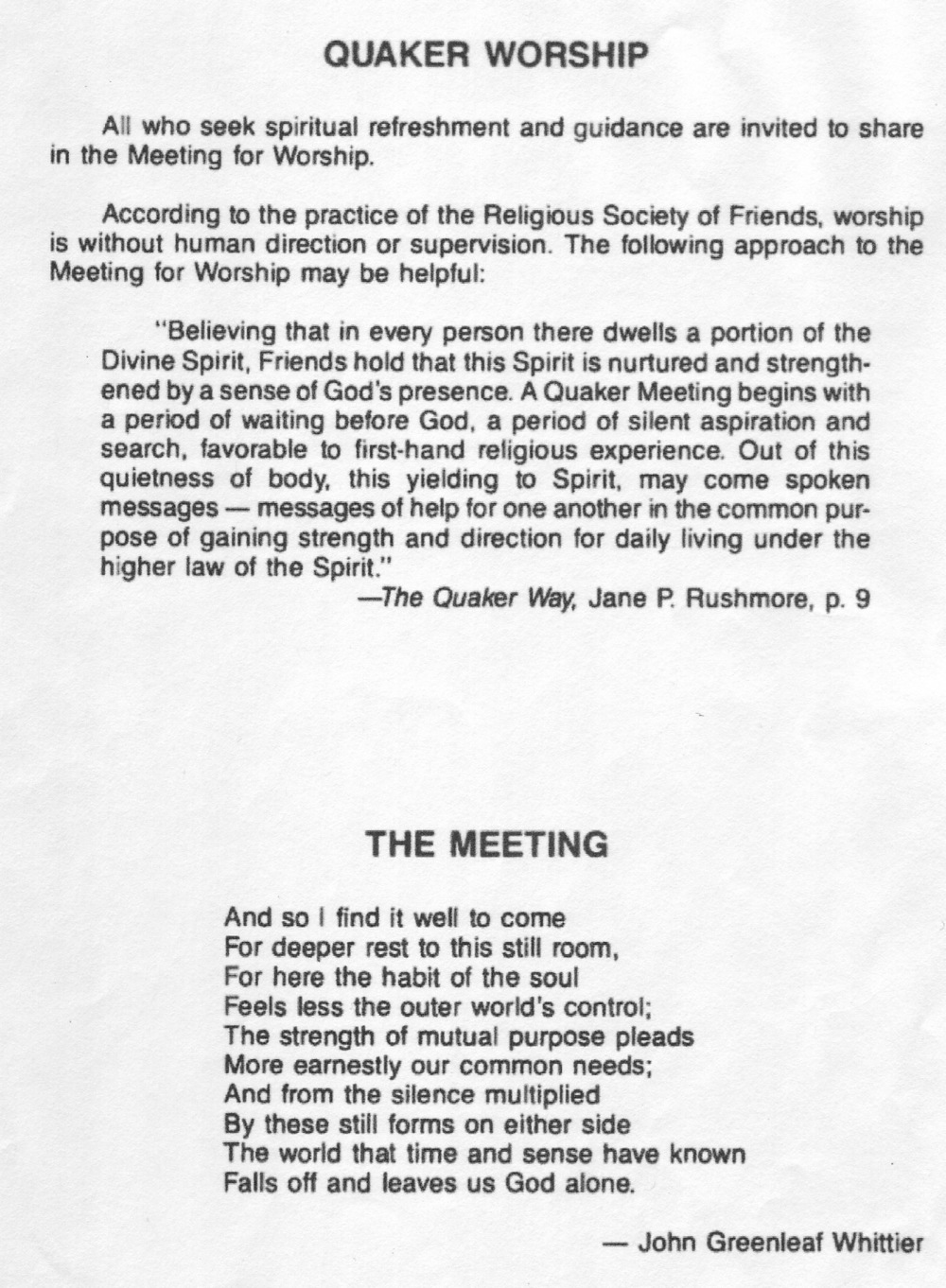 Quaker Worship, Quaker Meeting