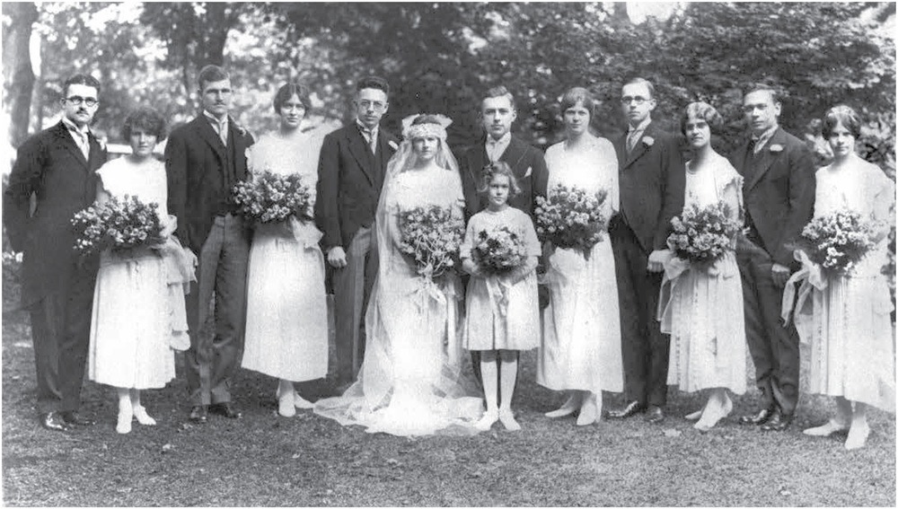 Left to right: Joe Marvel, Henrietta Walter, unidentified, Eleanor Booth, Philip Furnas, Betty, Paul, Lucy Sargent, Faith Borton Weston, Ralph Nicholson, Rebecca Biddle, Pat Vail, Helen Walter