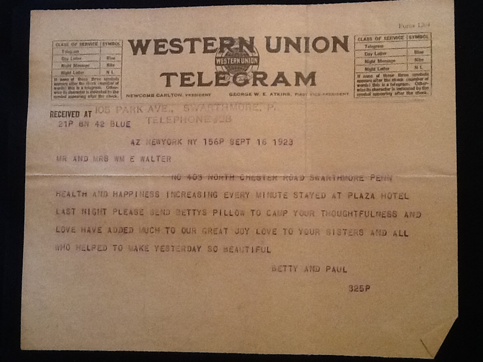 Telegram sent to Betty's parents by Paul and Betty during their stay at the Plaza Hotel in NYC at the start of their honeymoon