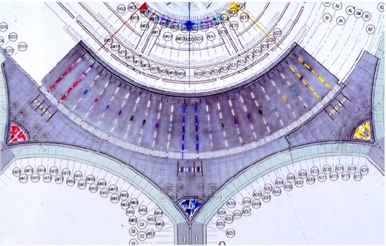 YYZ Proposal, Wayfinding and Architectural Glass, reflected ceiling plan, 1998.
