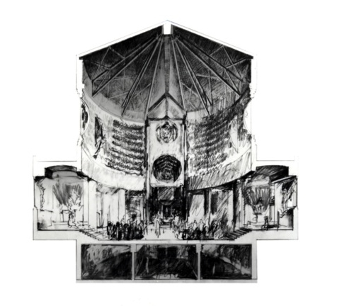 Monastery Proposal, cross sectional perspective through Sanctuary, 1984