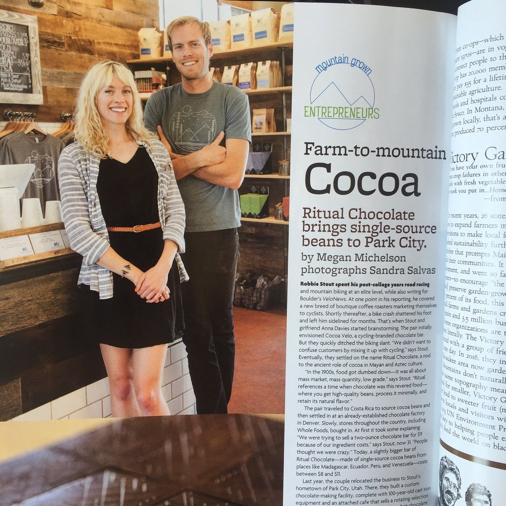 Robbie Stout and Anna Davies (co-owners) of Ritual Chocolate, featured in Mountain Magazine (click image to view full article).