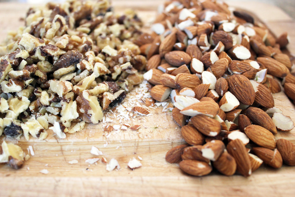 Our current recipe has a mix of chopped walnuts and almonds, but I'll often add pumpkin seeds, sunflower seeds and spoonful of millet for an extra crunch.