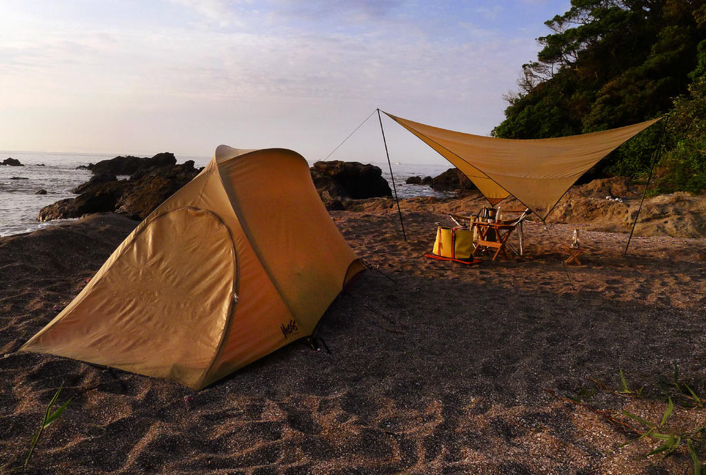 Moss Tents on beach in Japan