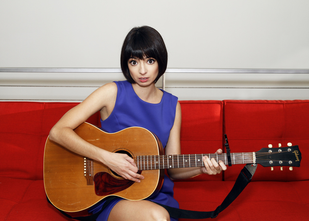 Kate Micucci, in Blue Scuba Dress,  Forever 21