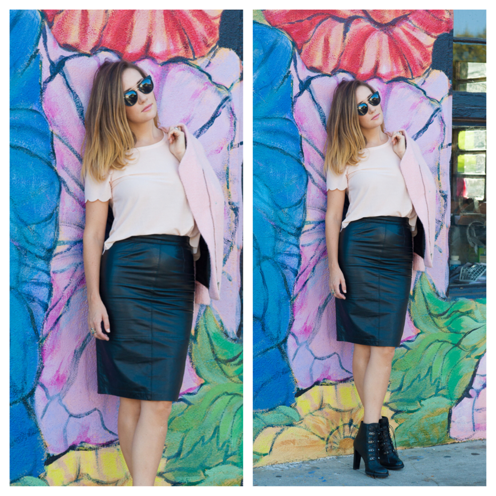 Scallop hem pink top,  Topshop . Leather pencil skirt, 80's vintage,  Andrew Marc . Sunglasses  Quay Australia
