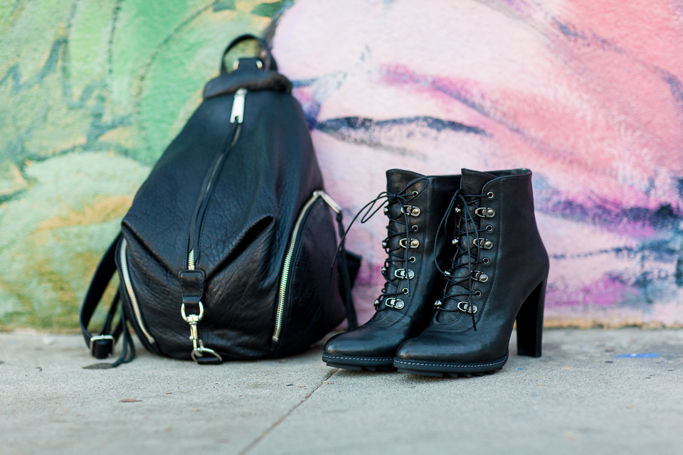 Julian Backpack,   Rebecca Minkoff .  Mackinac Booties,  Stuart Weitzman