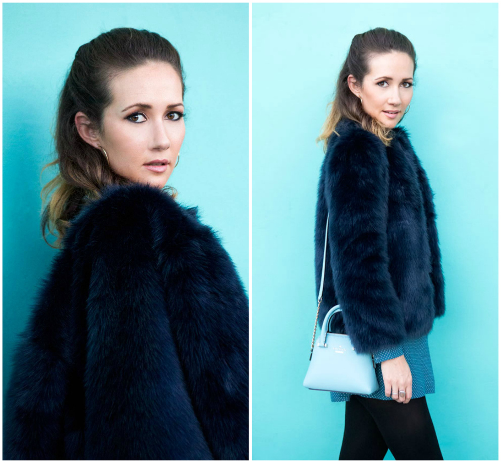 Navy blue faux-fur jacket, Zara.
