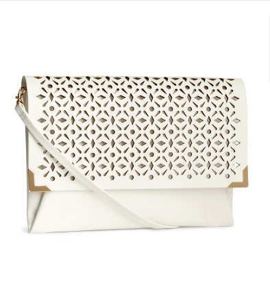 H and M white clutch bag
