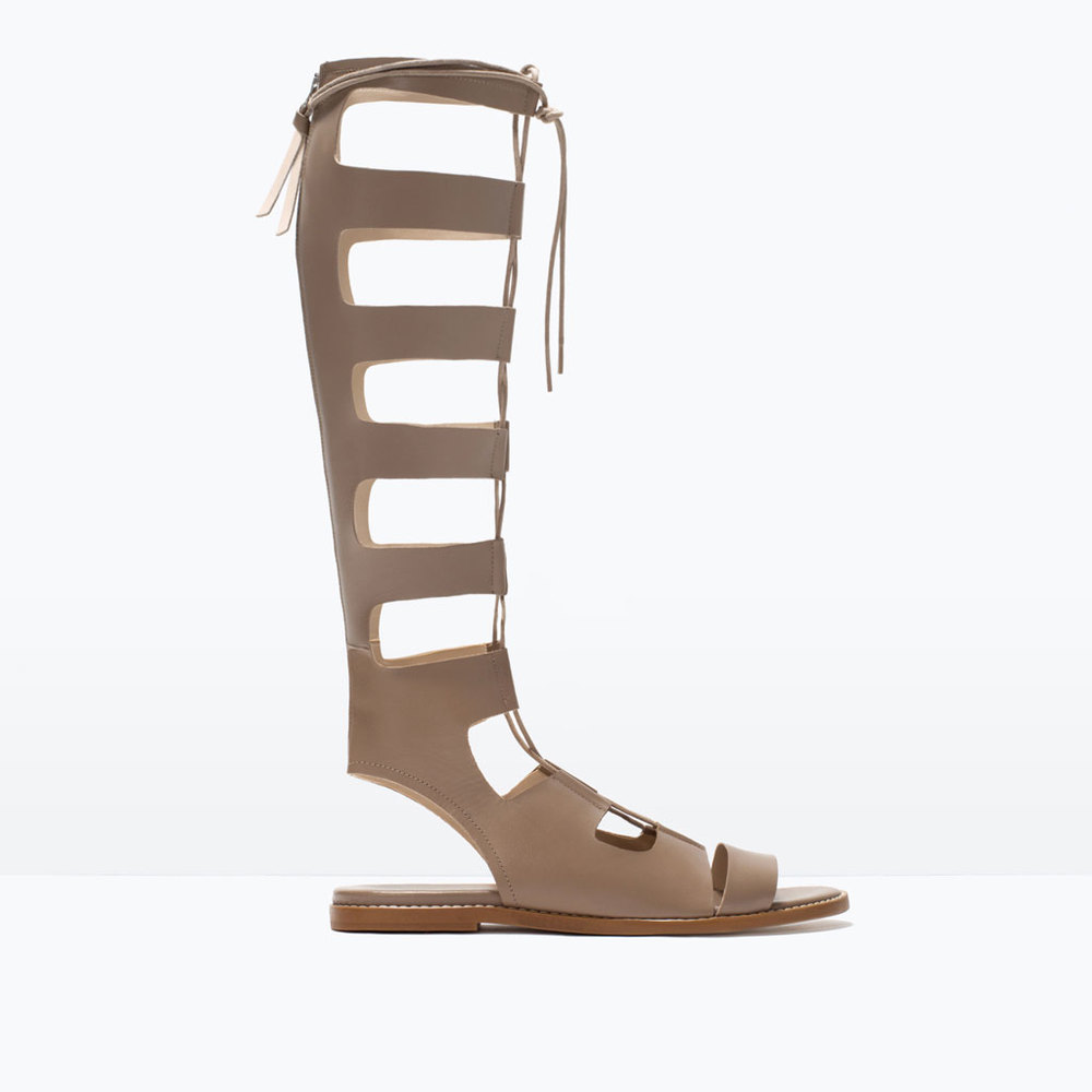 Zara beige grey lace up gladiator sandals