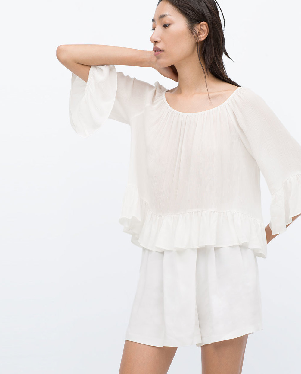 Zara boathouse white blouse