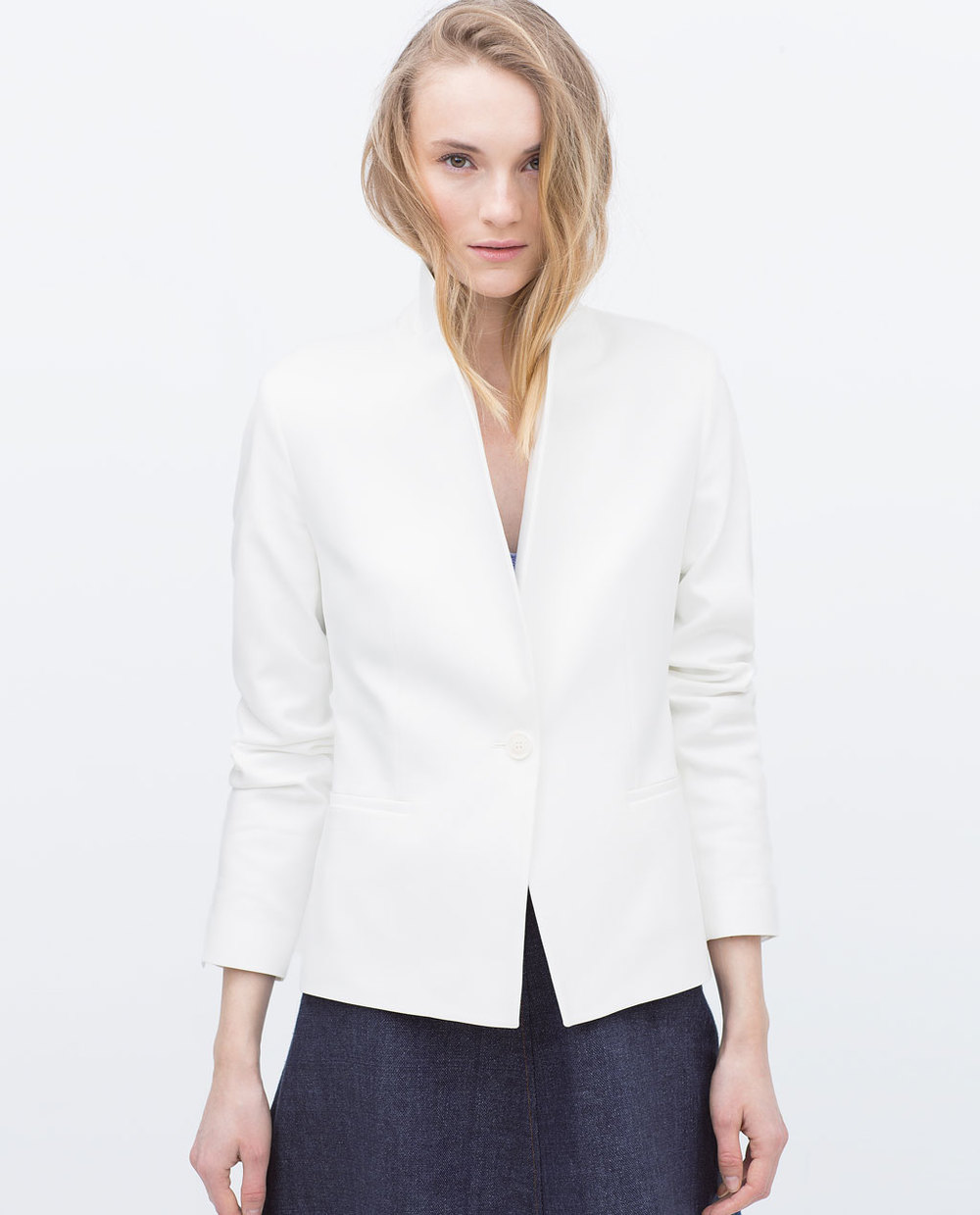 Zara double fabric blazer white