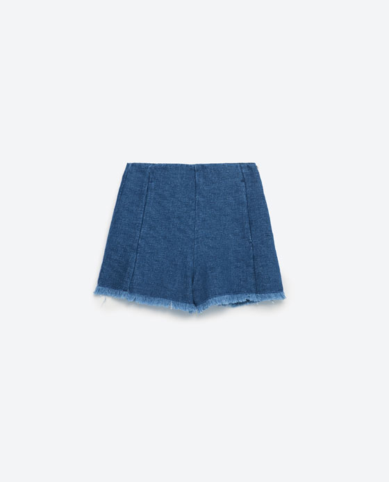 zara frayed denim shorts