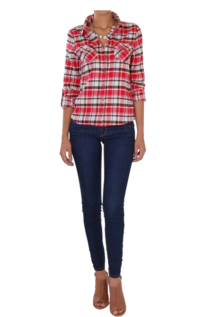 humble chic red plaid button down shirt