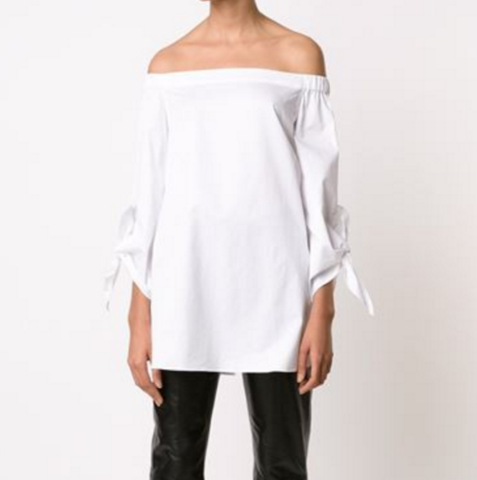 Tibi Off shoulder Knot Sleeve Top white