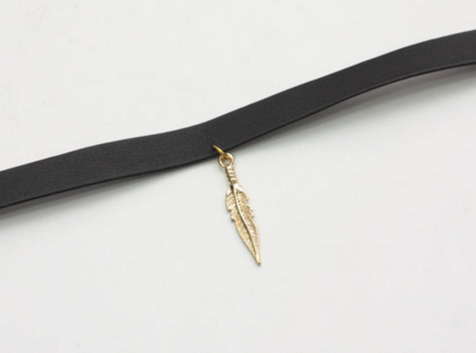 Black leather choker Etsy