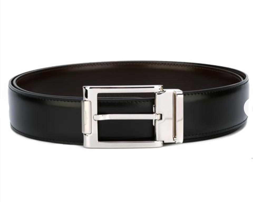 salvatore ferragamo black leather belt silver buckle