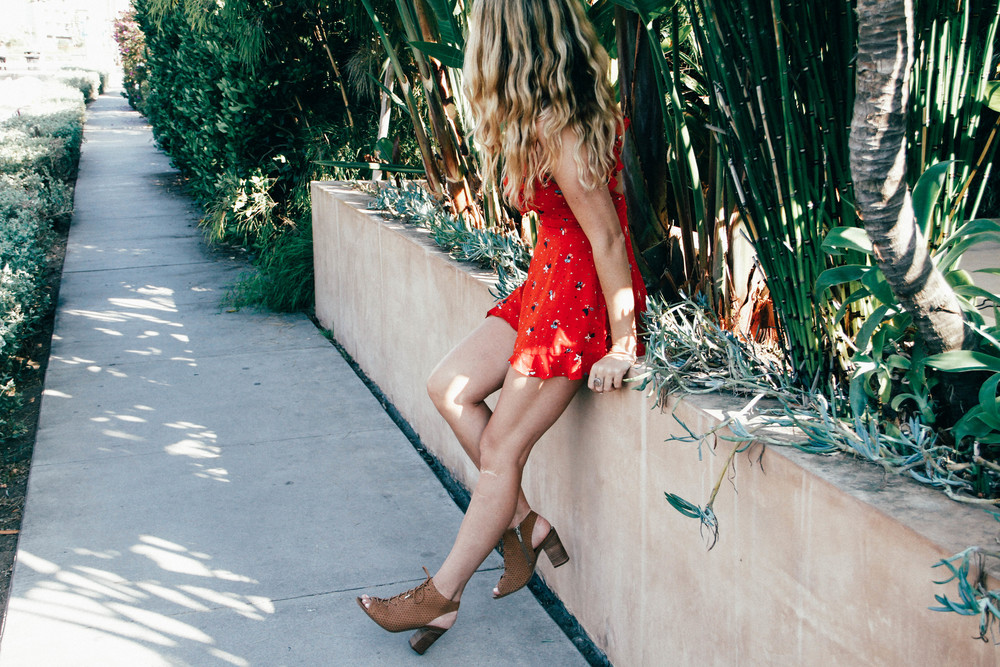 The Style Sauce fashion blog red romper Venice Beach