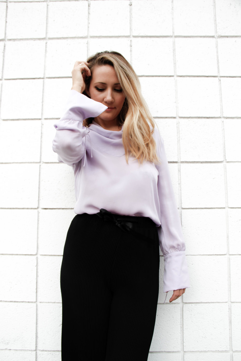 the style sauce fashion blog topshop lavender silk blouse