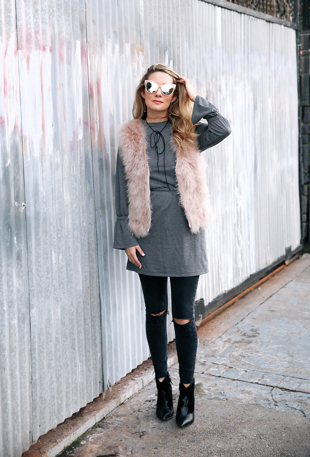The Style Sauce fashion blog Motif Me jewelry collection Street Style pink fur vest