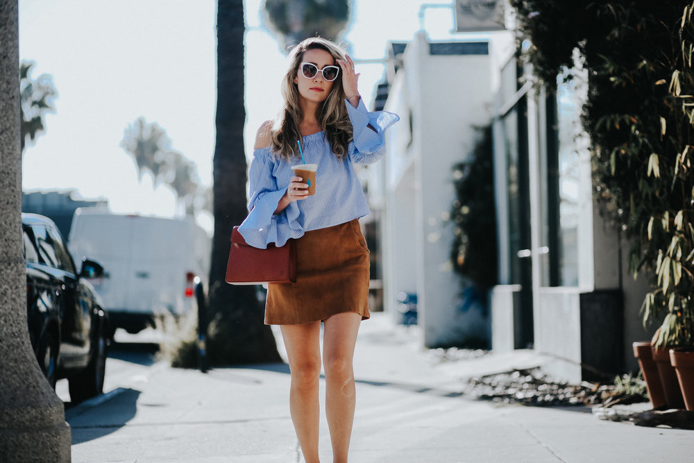 Striped statement top with Louis Vuitton Malesherbes vintage top handle bag and brown suede skirt // The Style Sauce Blog street style on Abbot Kinney Venice Beach