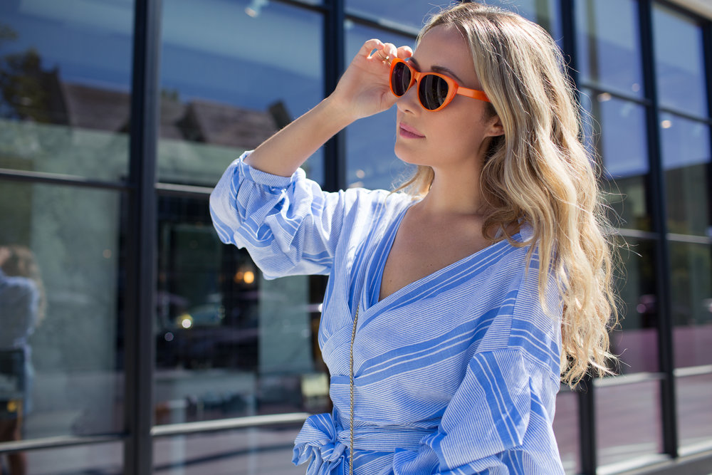 Orange sunglasses blue striped top, street style via The Style Sauce fashion blog