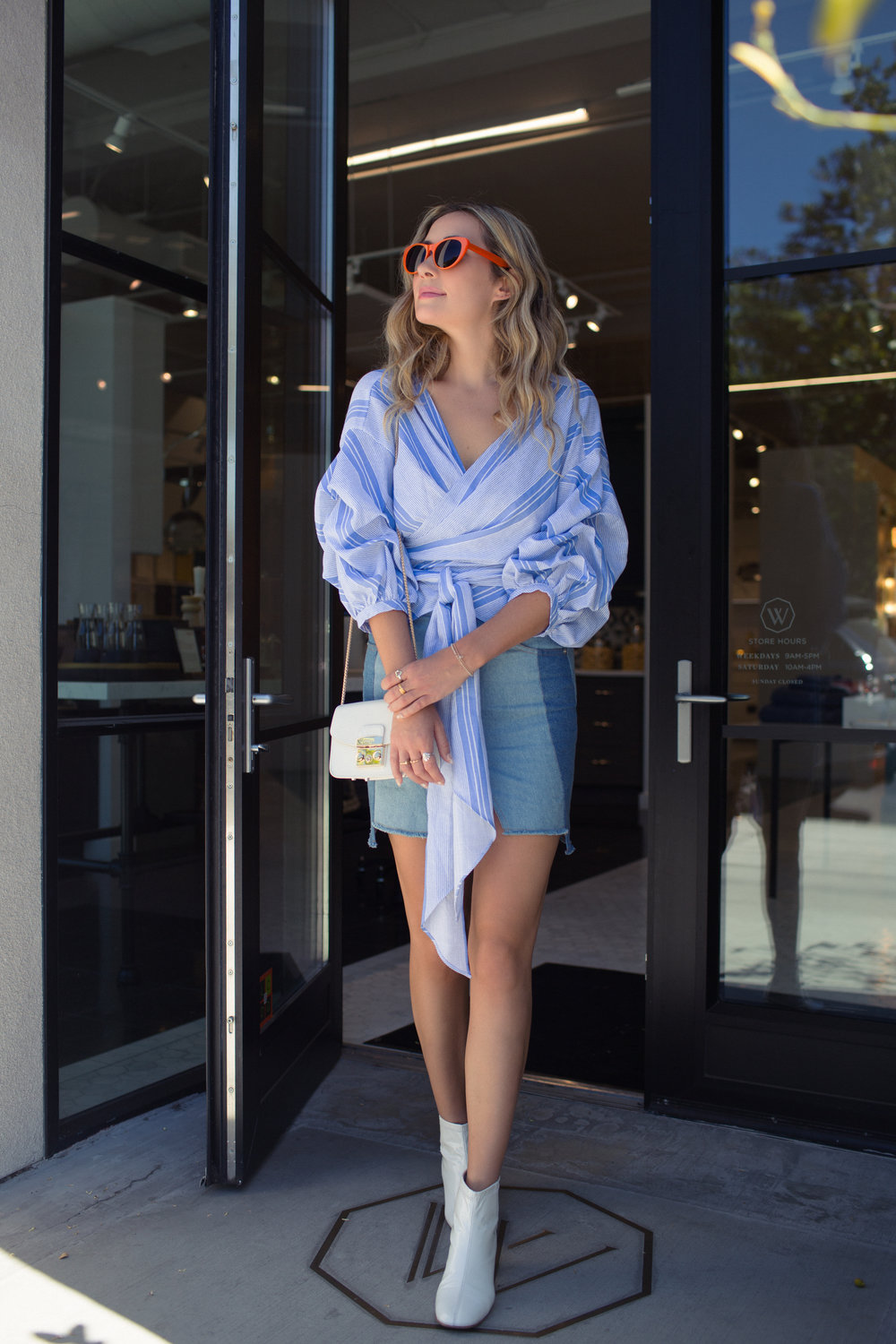 The Style Sauce fashion blog street style two tone denim, orange sunglasses, Melrose Place