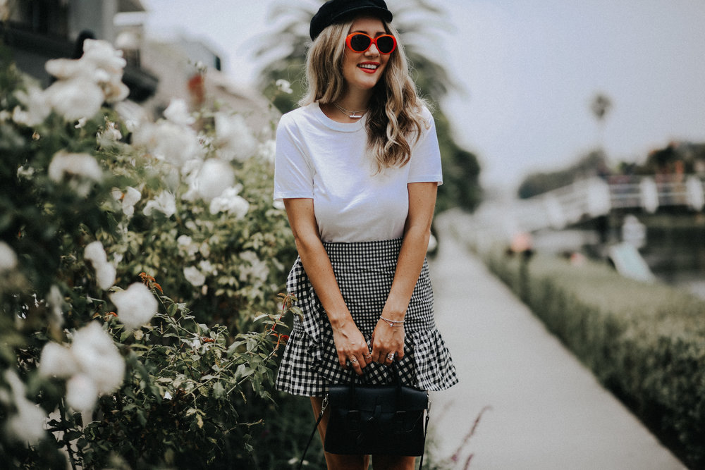 The Style Sauce Venice Canals Blog gingham skirt oval sunglasses, Fashion Blog Los Angeles