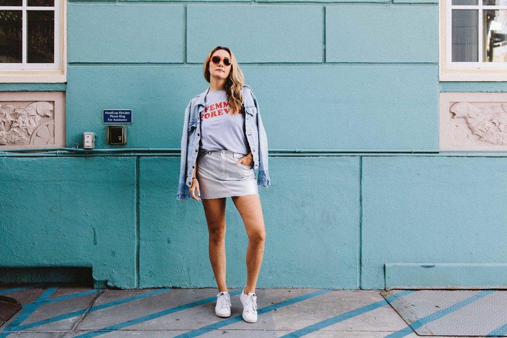 the style sauce fashion blog // street style los angeles // metallic skirt // statement tee