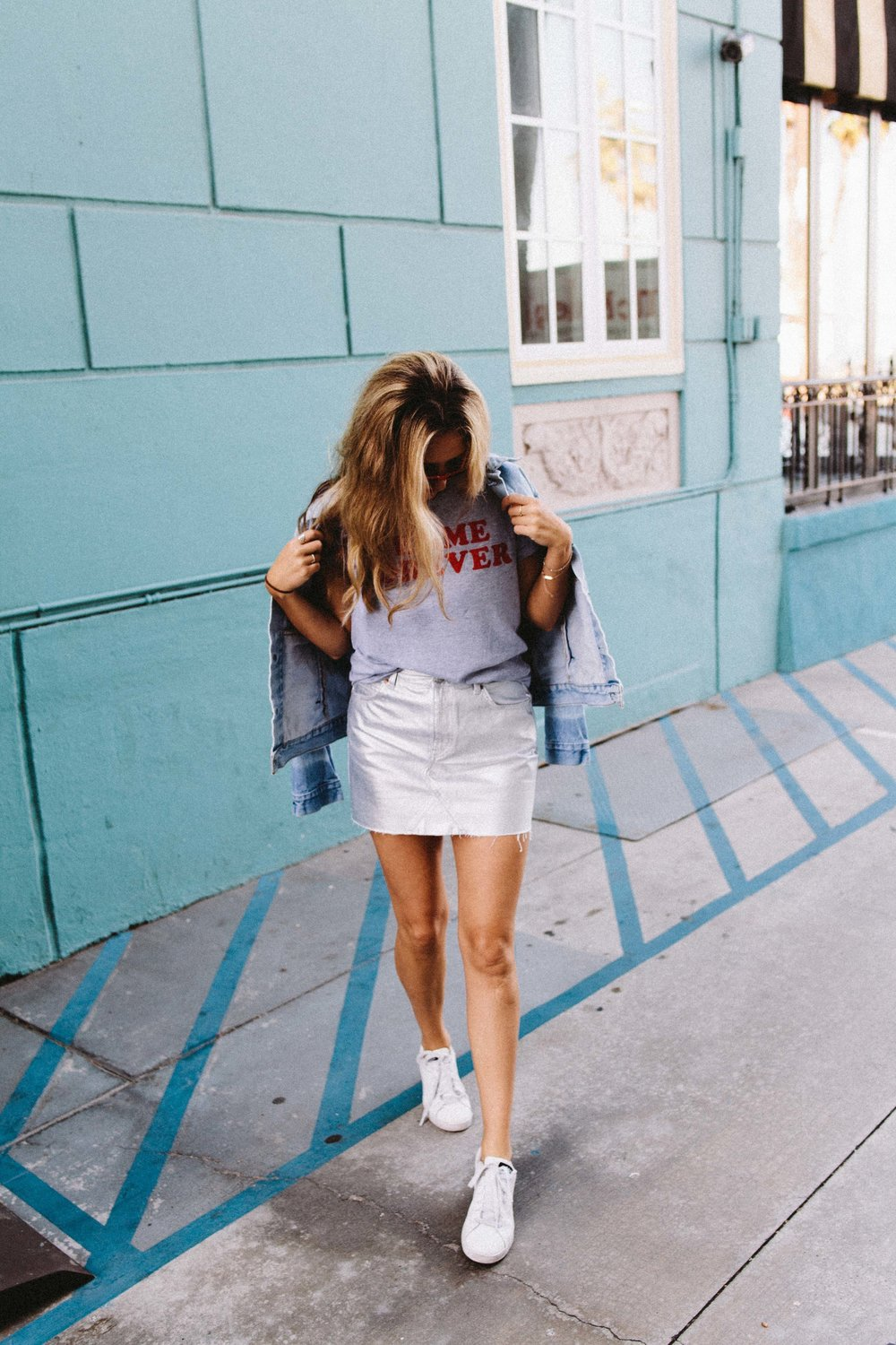 the style sauce fashion blog // statement tee // silver mini skirt // street style