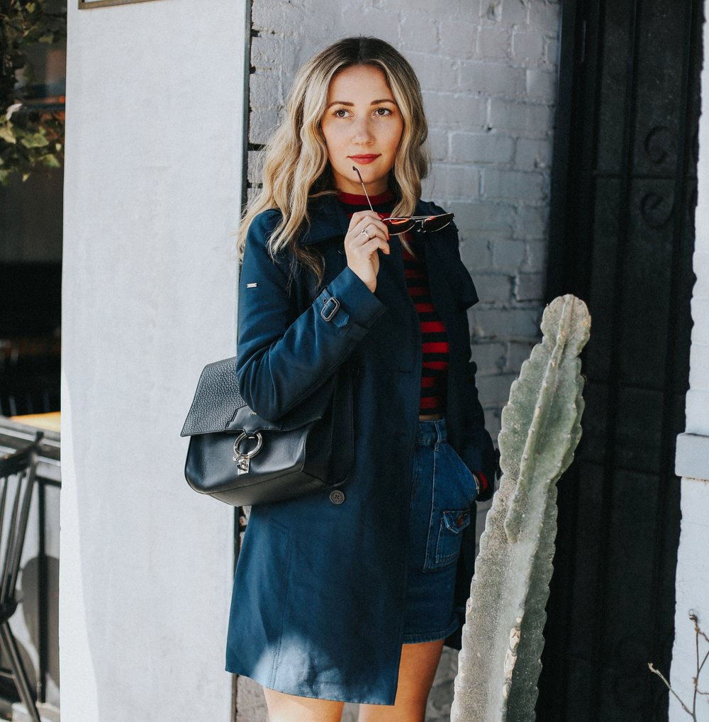 The Style Sauce Los Angeles fashion blog, navy blue trench coat, how to wear a trench coat, best trends for Fall 2017