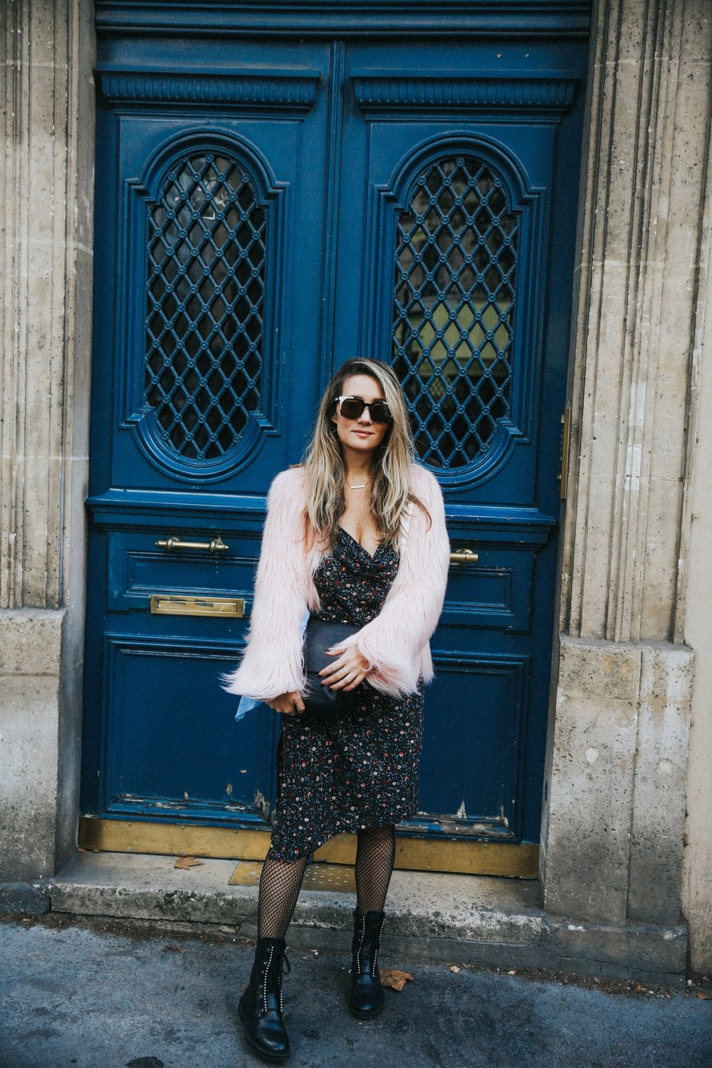 The Style Sauce street style Paris pink faux fur jacket midi dress and combat boots