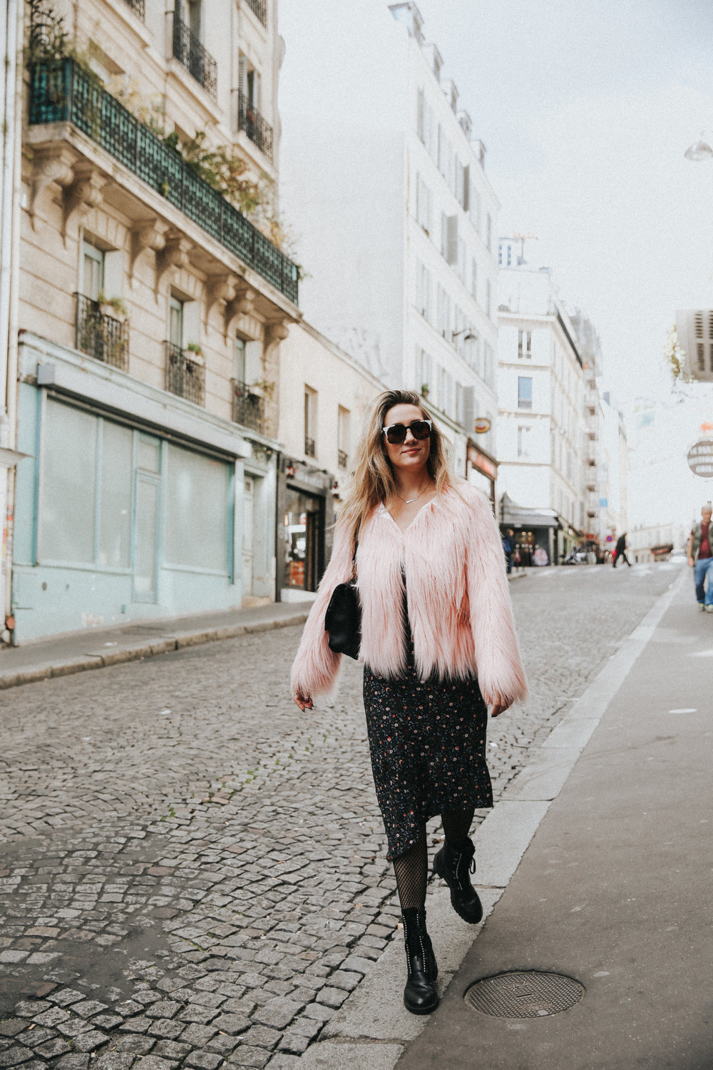 the style sauce paris street style fashion blog style pink fur jacket and dress