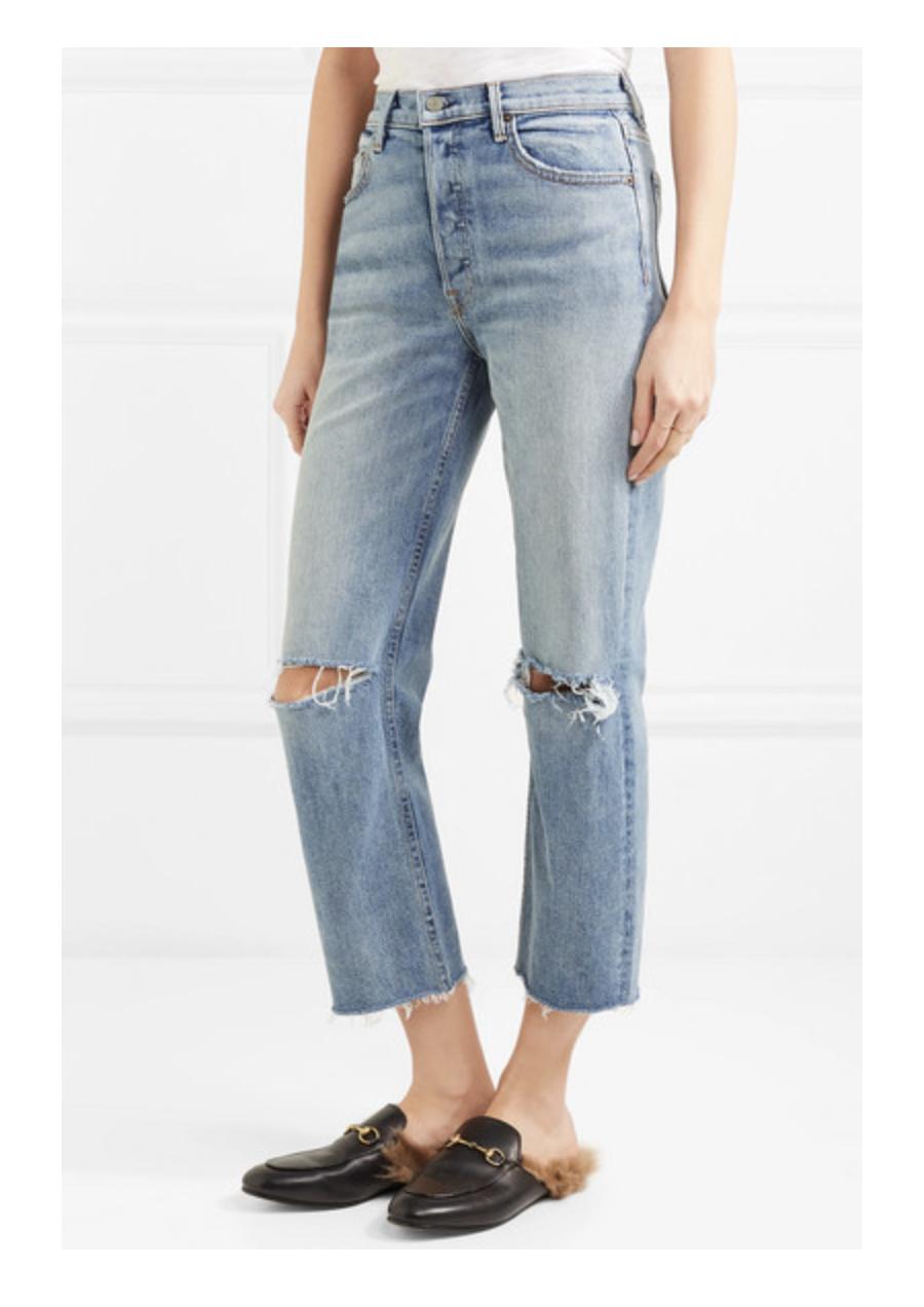 Girlfried denim distressed jeans