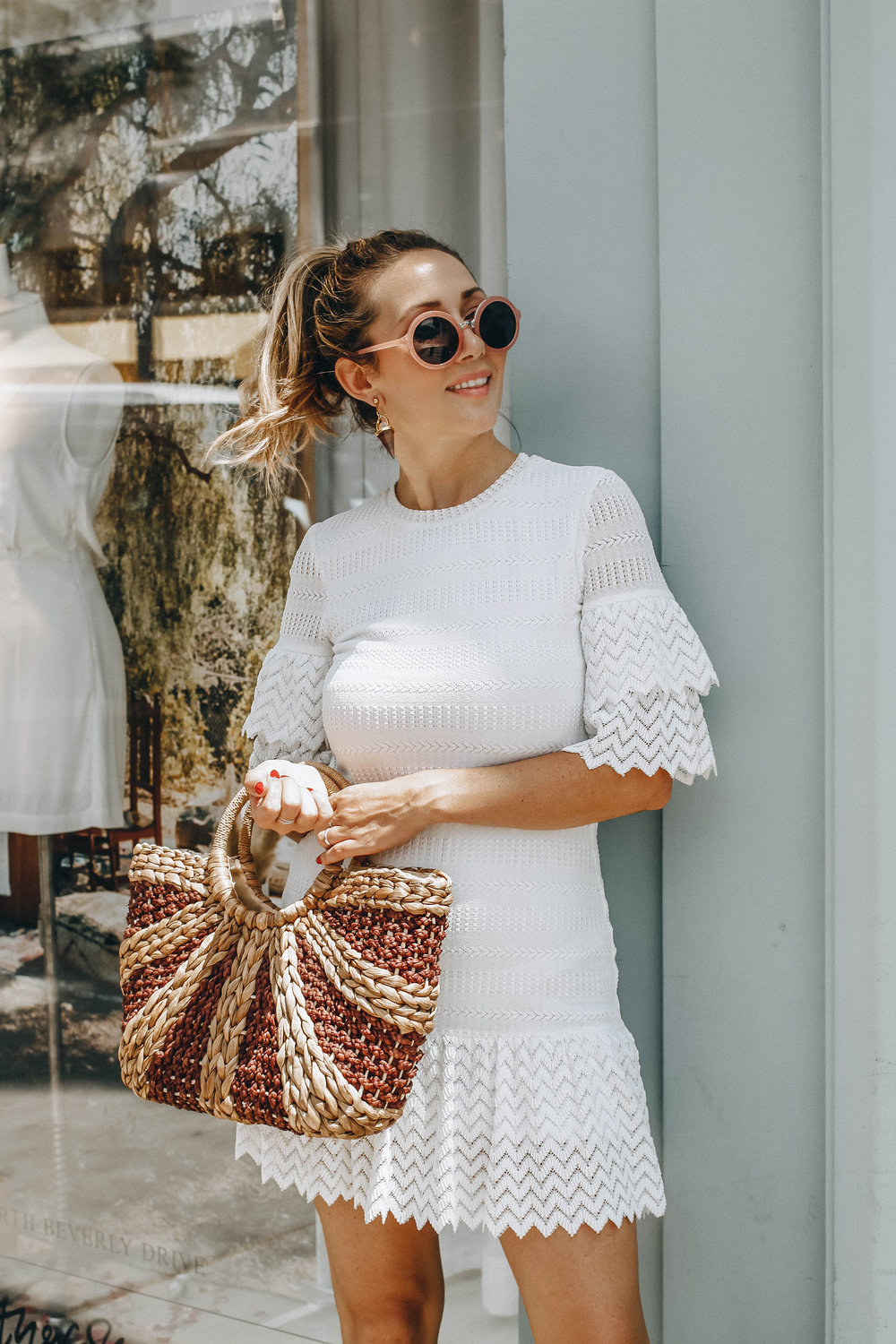 The Style Sauce fashion blog // white dress // straw hand bag // Spring summer style