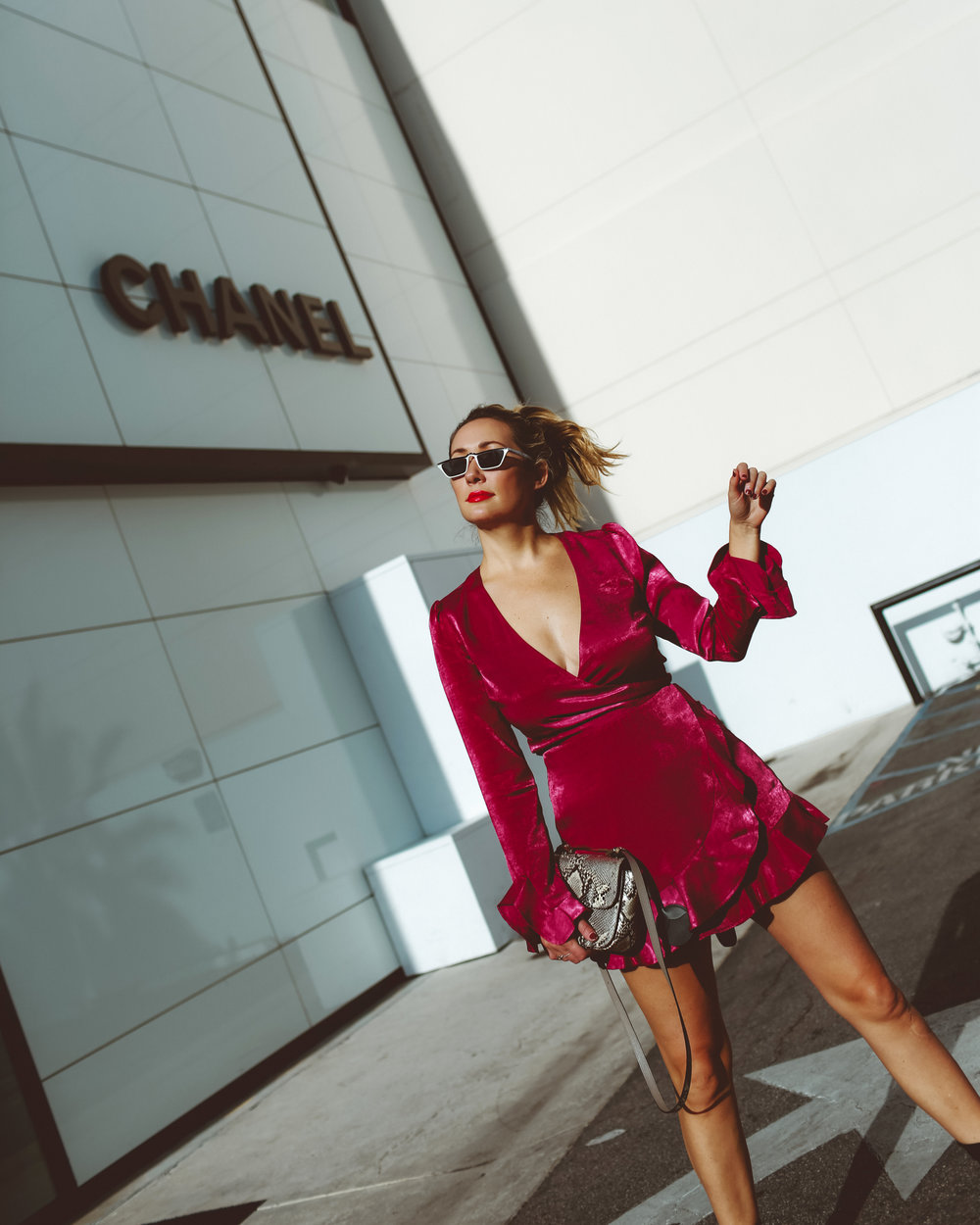 hot pink wrap dress // the style sauce blogger