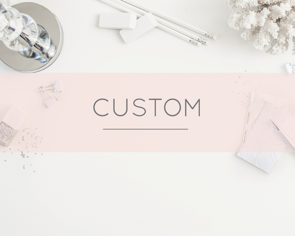 All The White Letter's designs are custom made so you can change elements within a design to make it more 'you'. For example, if you like a sample design that is pink with a heart but wish for it to be cream with a tree, this can be done at no extra cost.   Click to see Custom Stationery designs!