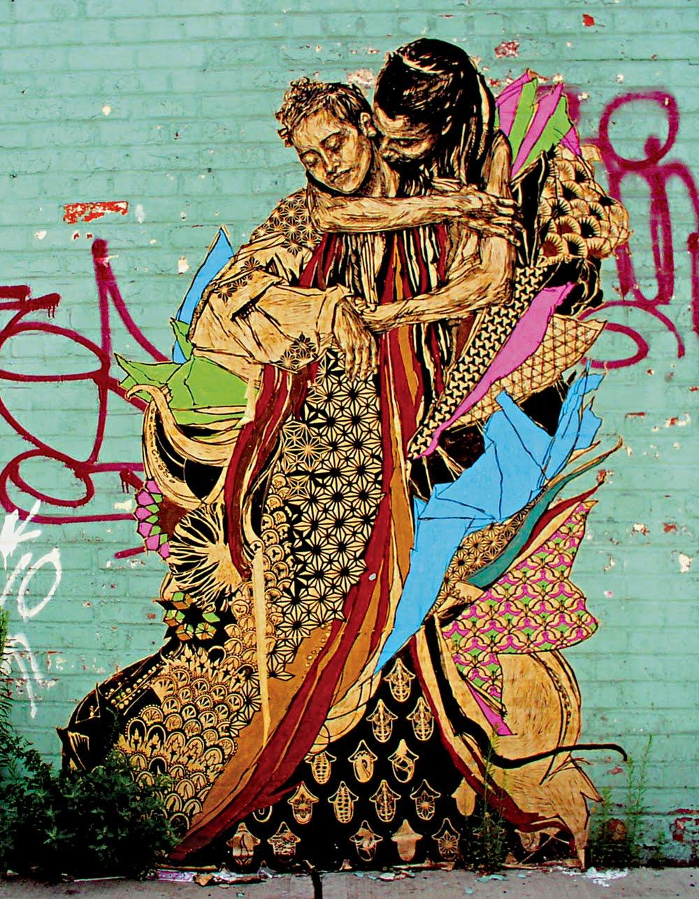 By placing her wheatpaste drawings on the sides of abandoned buildings, Curry is able to transform everyday, banal urban settings into little spaces of magic and beauty. Photo courtesy of www.streetinspiredtoronto.files.wordpress.com.