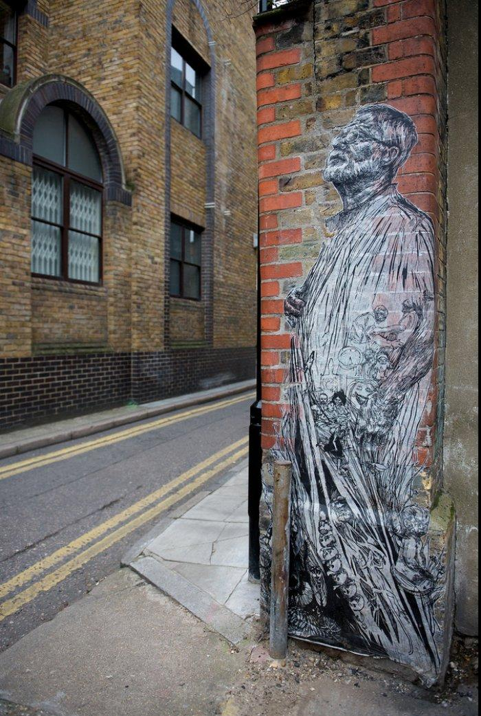 Swoon's wheatpaste art allows her to leave a piece of herself wherever she goes. This drawing in London brings a special beauty to a banal urban space. Photo courtesy of www.inspirationgreen.com.