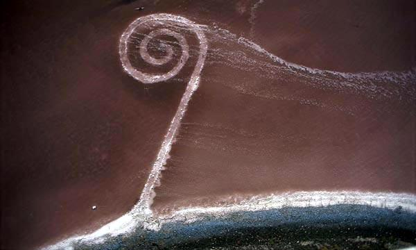 An aerial view of Smithson's Spiral Jetty shows the immensity of this logistical feat and historical earthwork. Photo courtesy of www.ballardian.com.