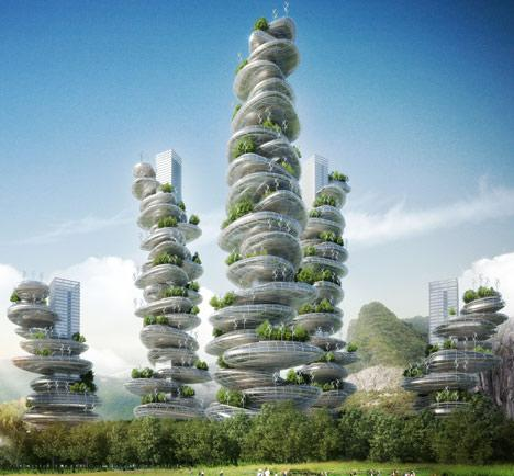 "Vincent Callebaut's tall, high-rise ""farmscrapers"" are visionary in their merging of agriculture, design, and urban industrialization. Will these be the future? Photo courtesy of www.dezeen.com."