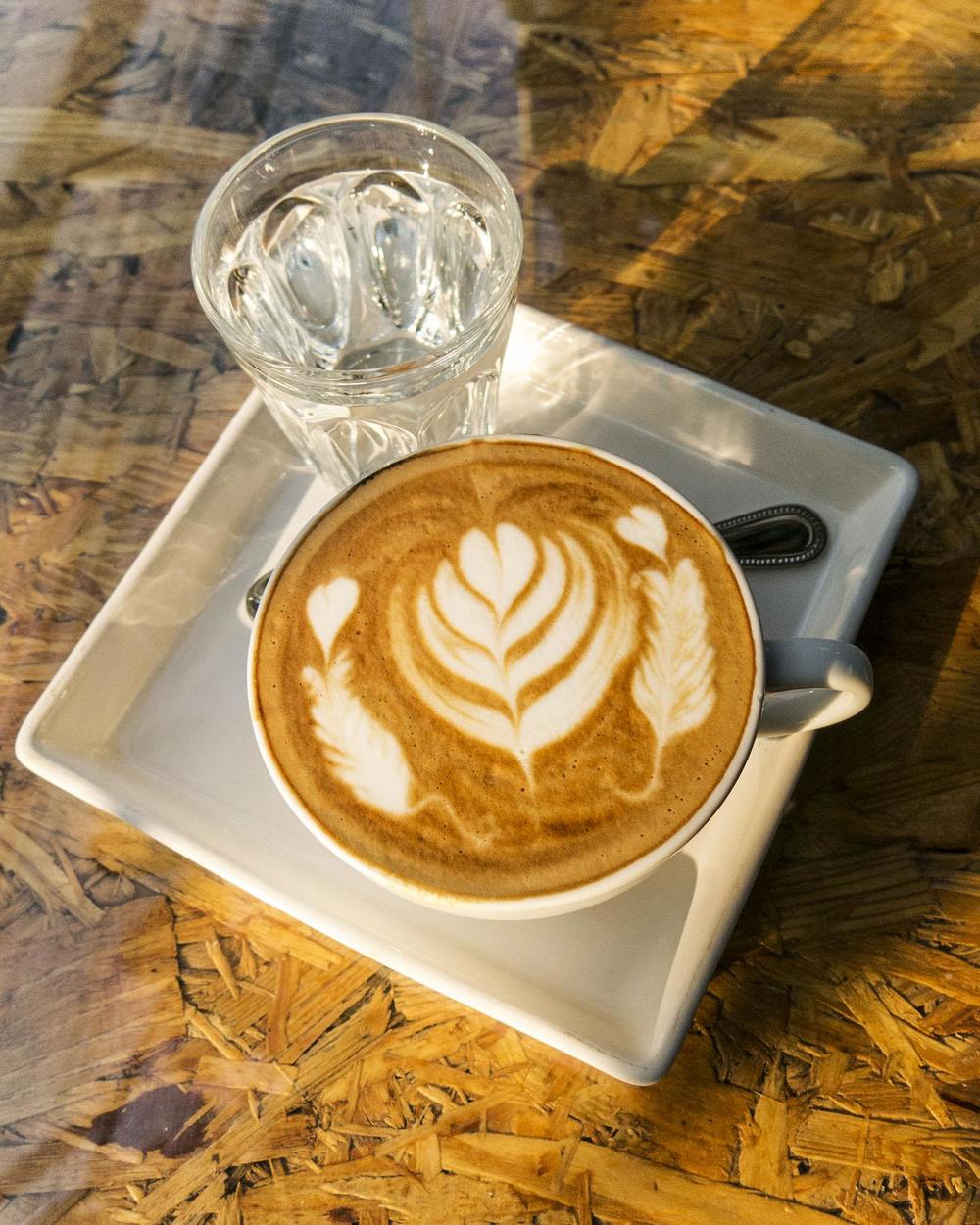 This was made by a different latte artist, using the free pouring method, which we explain further below. Photo by Kimberly Bryant.