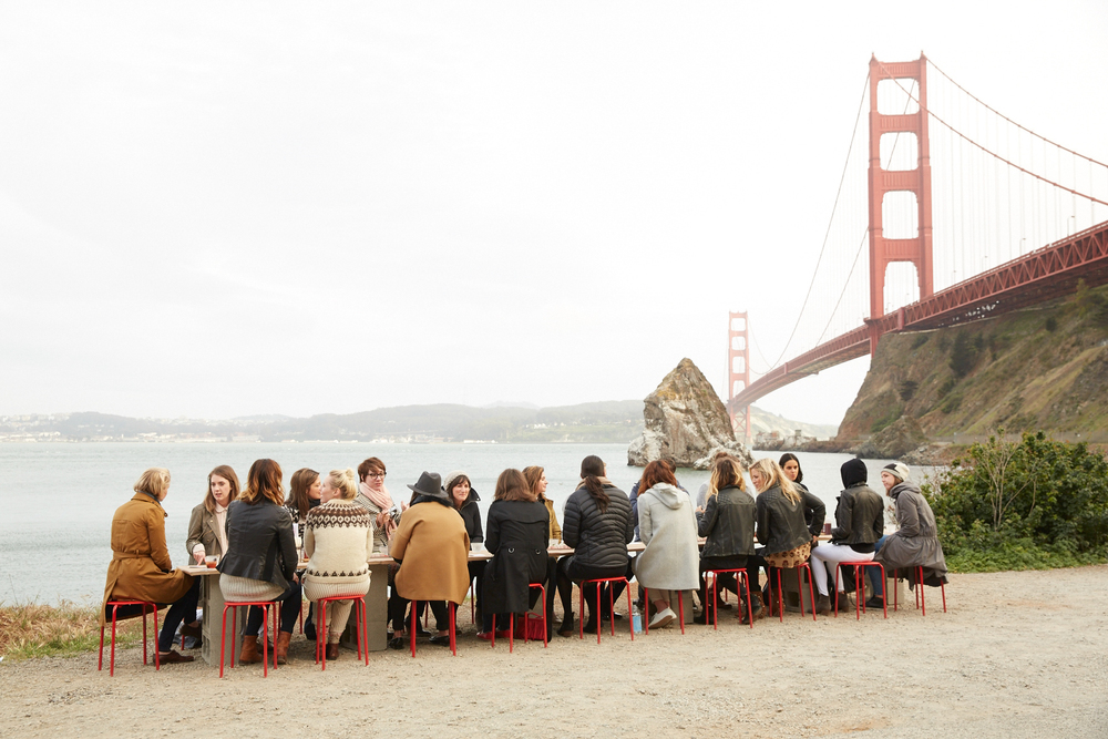We started the evening with a pop-up dinner next to the Golden Gate Bridge.