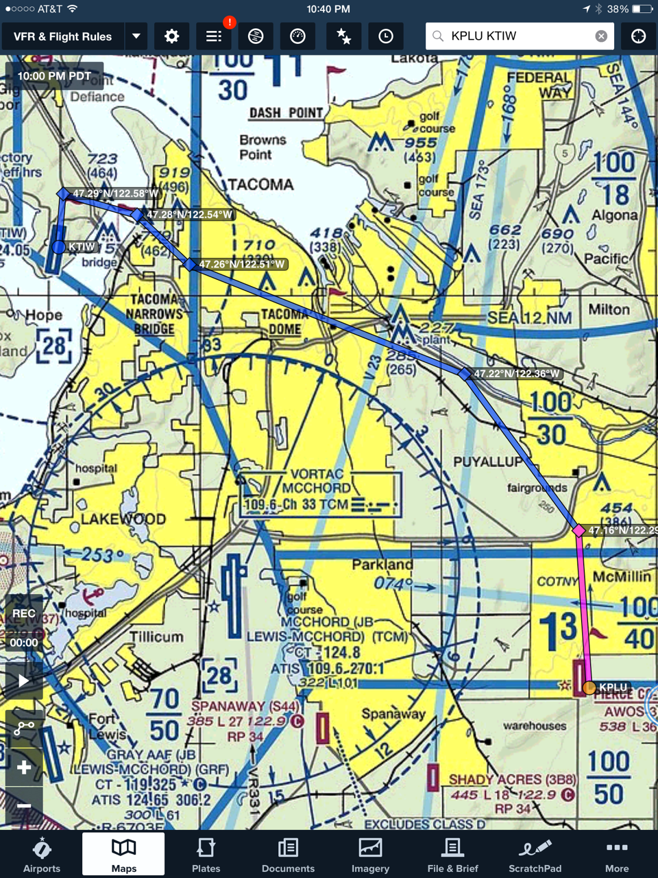 Route in Foreflight from KPLU to KTIW