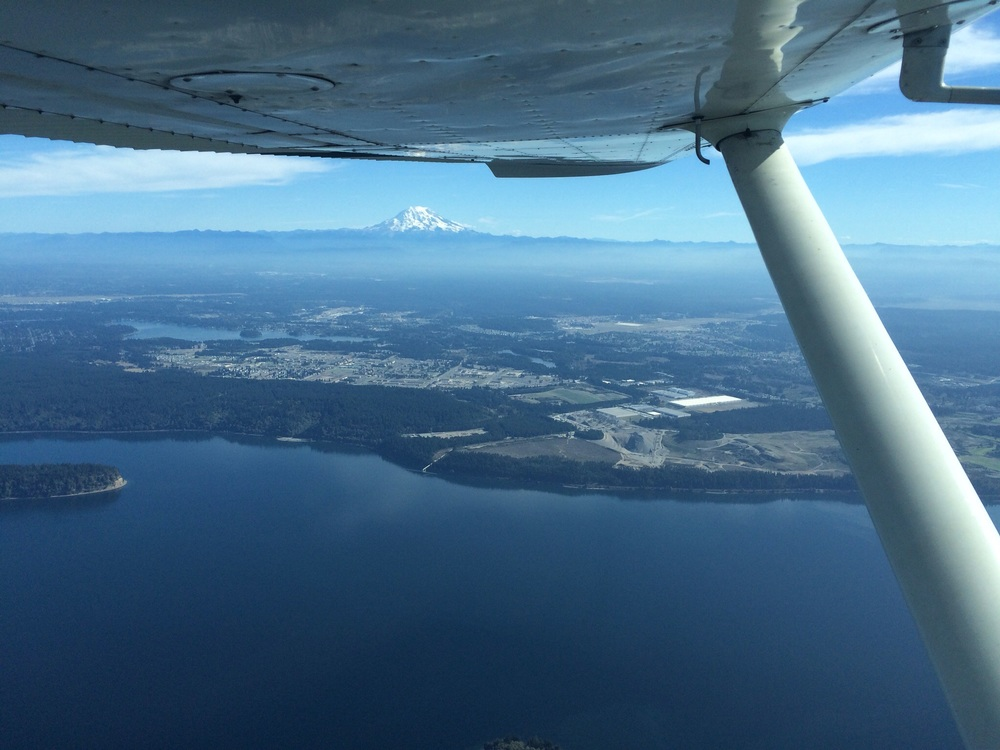 Mount Rainier in the distance, over Puget Sound at 4,500 feet.