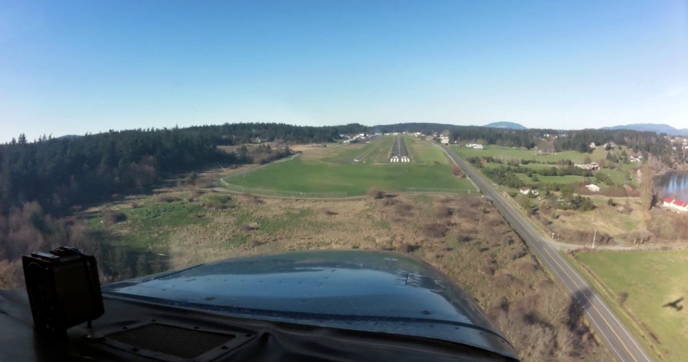 Final approach for Runway 34 Friday Harbor (KFHR) I love seeing my shadow!