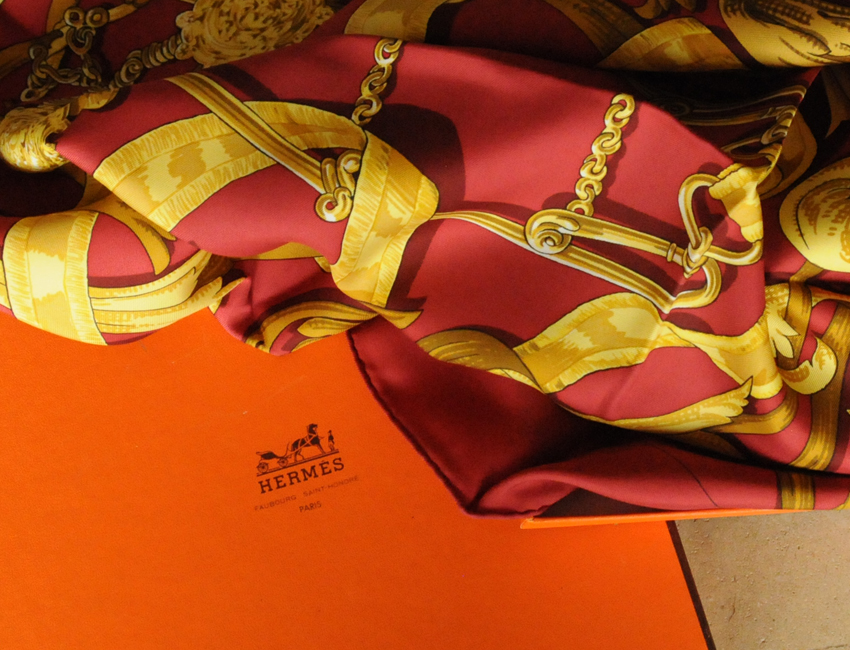 Timeless Style: An Hermes scarf in its original box circa 1980s