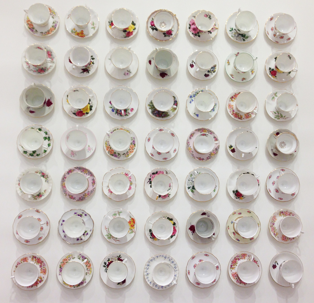 Cath Kidson, London: Grid of 49 teacups and saucers transform into artwork