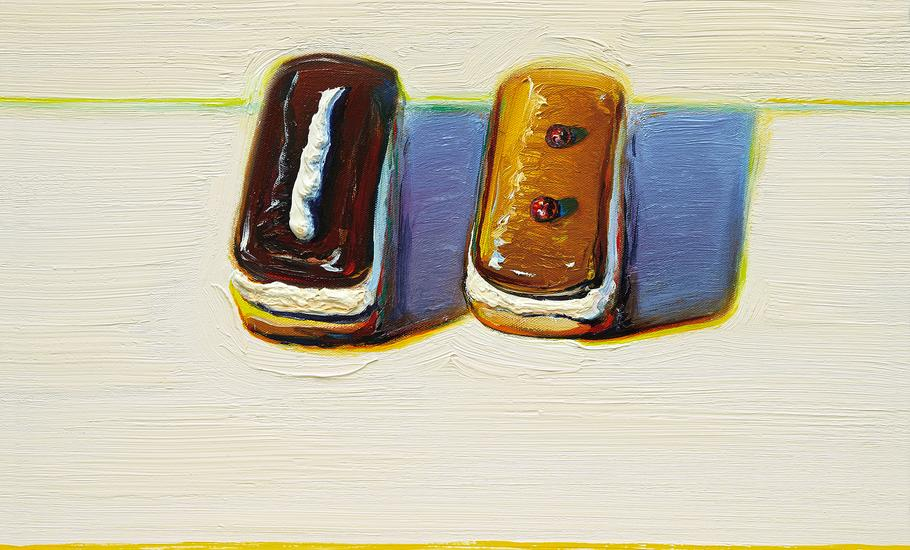 Wayne Thiebaud |  Chocolate & Maple, 2001  |  oil on canvas  |  16x19 1/4 inches | Acquavella Galleries